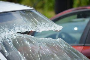 ice chunk smashes into windshield