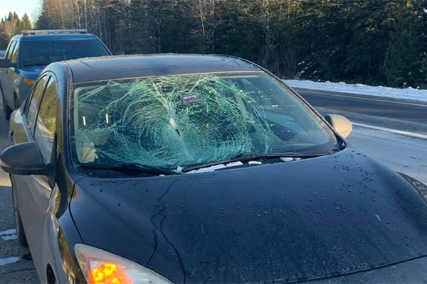 Ice chunk smashes through windshield serves as a reminder to clear your vehicle