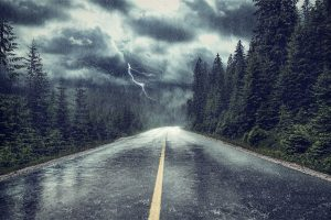 Lightning hits road